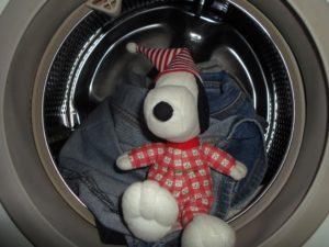 Snoopy in der Waschmaschine.