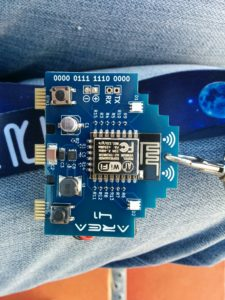 Electronic Badge (w/ ESP8266 WiFi Chip), area41