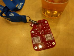 HIDIOT 1.0, this year's badge.