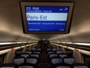 ICE 9568, Wagen 24, Platz 13, noch leer aber bald auf dem Weg nach Paris zum Gare de l'Est.
